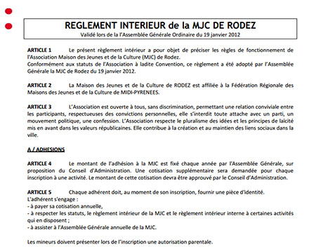 Mjc rodez r glement int rieur for Le reglement interieur